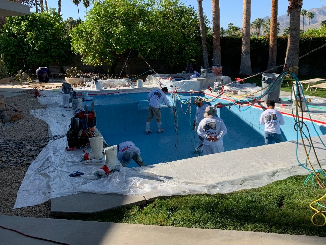 application of mini pebble finish pool care solutions
