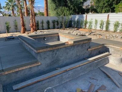 Spa Addition with new concrete and coping in palm springs - pool care solutions